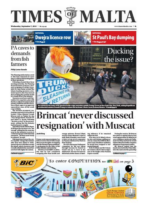 Times of Malta - Wednesday, September 7, 2016