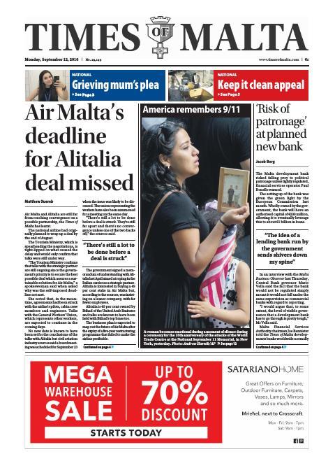 Times of Malta - Monday, September 12, 2016