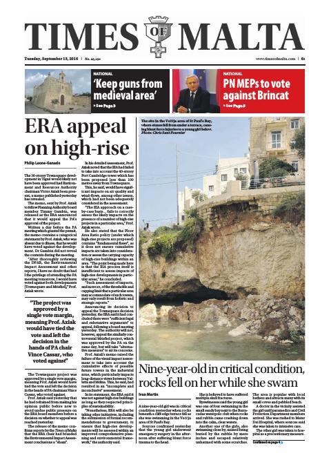 Times of Malta - Tuesday, September 13, 2016