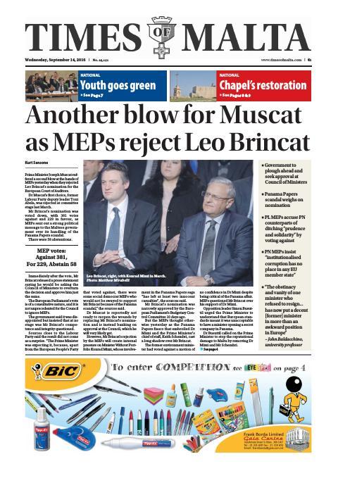 Times of Malta - Wednesday, September 14, 2016