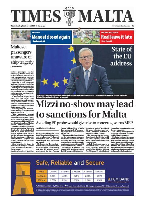 Times of Malta - Thursday, September 15, 2016