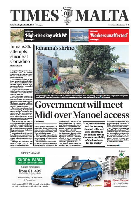 Times of Malta - Saturday, September 17, 2016