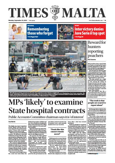Times of Malta - Monday, September 19, 2016