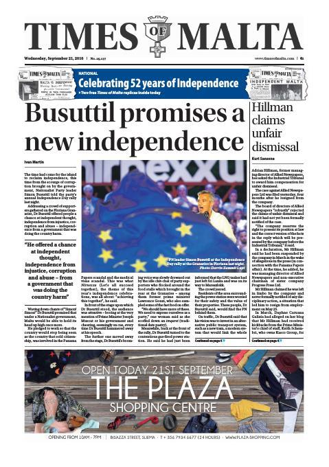 Times of Malta - Wednesday, September 21, 2016