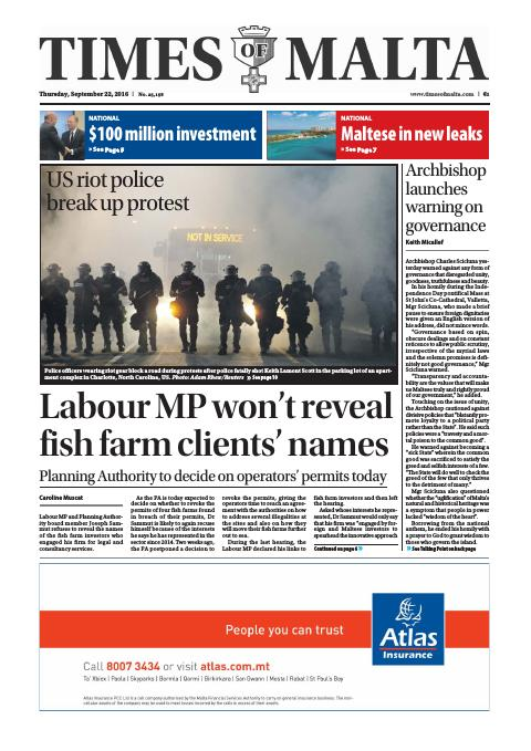 Times of Malta - Thursday, September 22, 2016