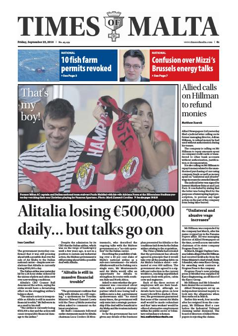Times of Malta - Friday, September 23, 2016