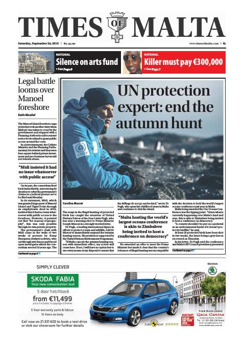 Times of Malta - Saturday, September 24, 2016
