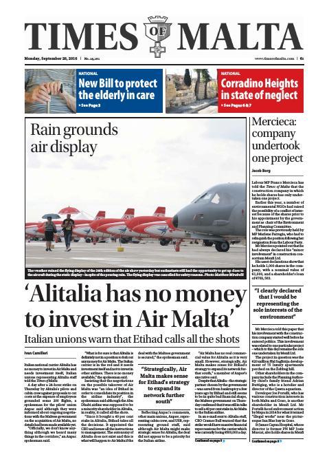 Times of Malta - Monday, September 26, 2016