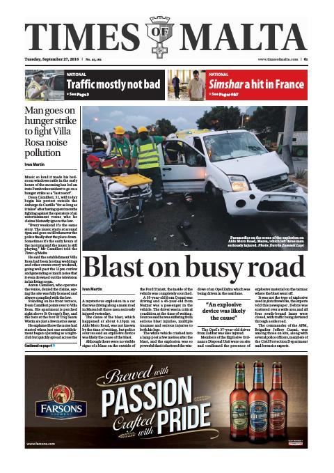 Times of Malta - Tuesday, September 27, 2016