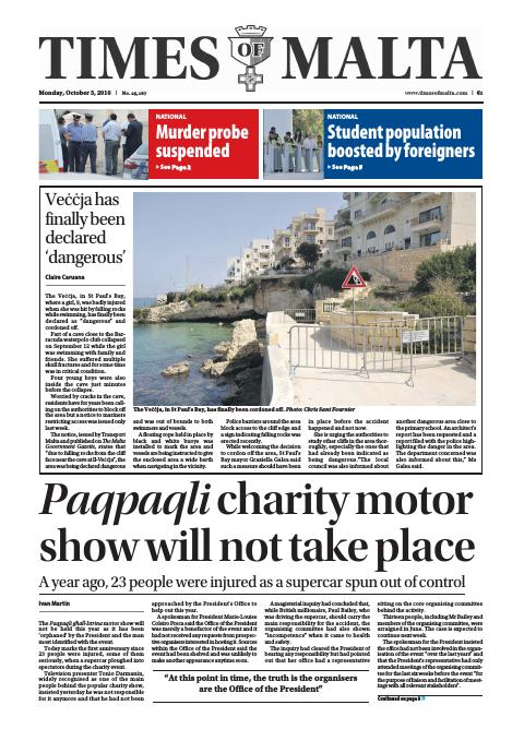 Times of Malta - Monday, October 3, 2016