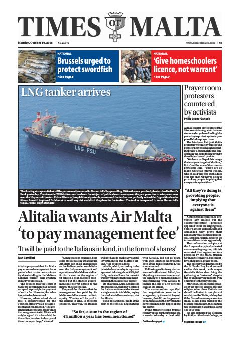Times of Malta - Monday, October 10, 2016