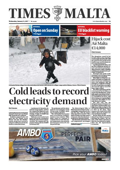 Times of Malta - Wednesday, January 11, 2017