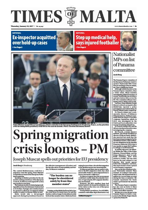 Times of Malta - Thursday, January 19, 2017