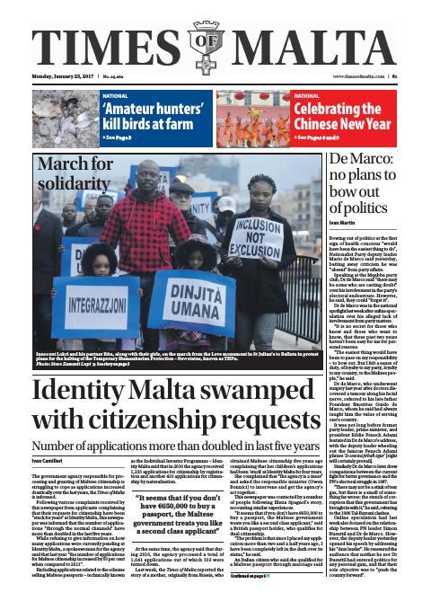 Times of Malta - Monday, January 23, 2017