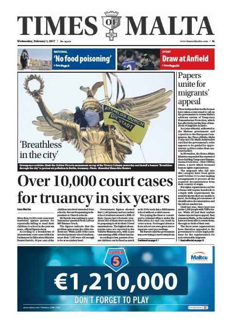 Times of Malta - Wednesday, February 1, 2017
