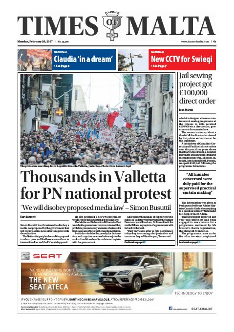 Times of Malta - Monday, February 20, 2017