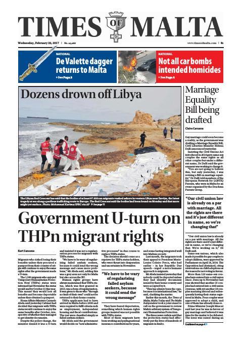 Times of Malta - Wednesday, February 22, 2017