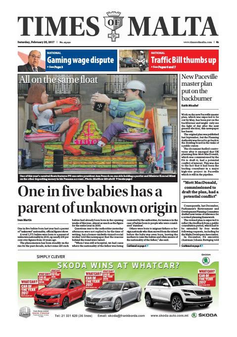 Times of Malta - Saturday, February 25, 2017