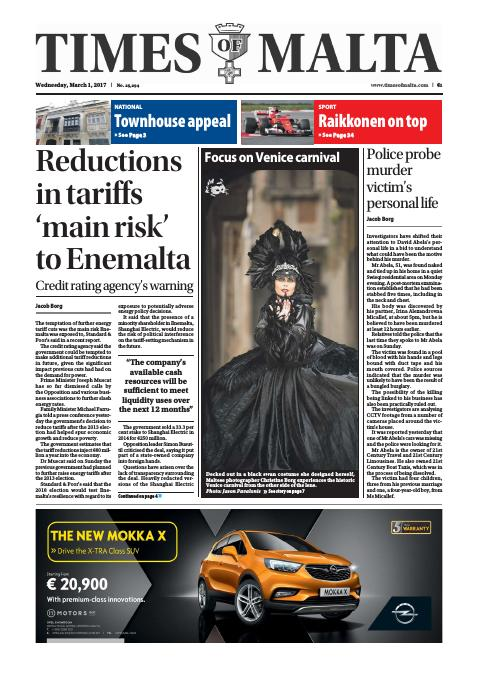 Times of Malta - Wednesday, March 1, 2017