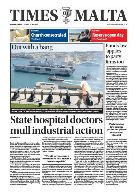 Times of Malta - Monday, March 13, 2017