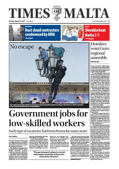 Times of Malta - Monday, March 27, 2017