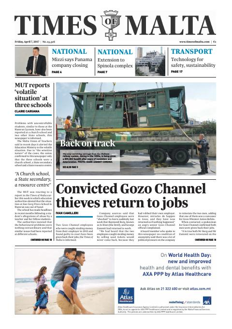 Times of Malta - Friday, April 7, 2017