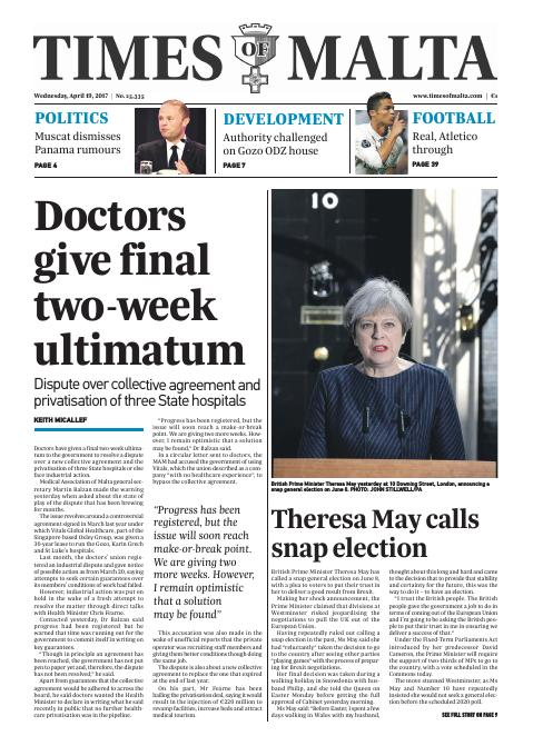 Times of Malta - Wednesday, April 19, 2017