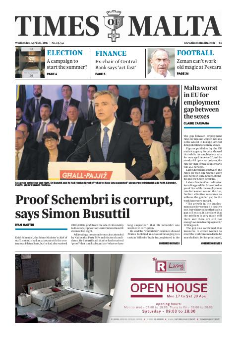 Times of Malta - Wednesday, April 26, 2017