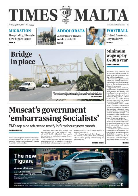 Times of Malta - Friday, April 28, 2017