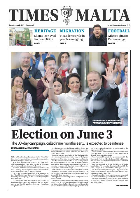 Times of Malta - Tuesday, May 2, 2017