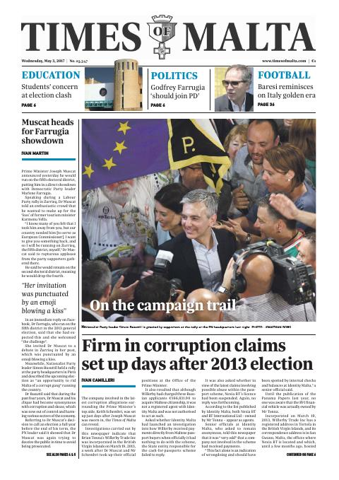 Times of Malta - Wednesday, May 3, 2017