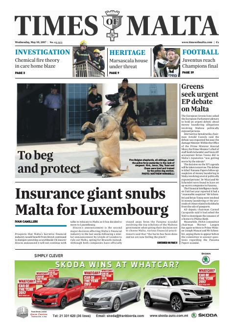 Times of Malta - Wednesday, May 10, 2017
