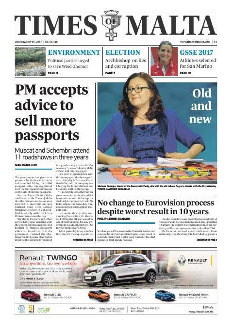 Times of Malta - Tuesday, May 16, 2017