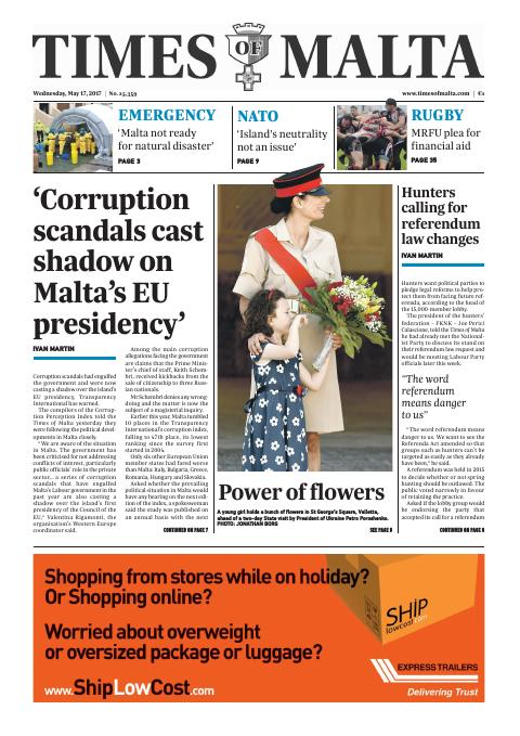 Times of Malta - Wednesday, May 17, 2017