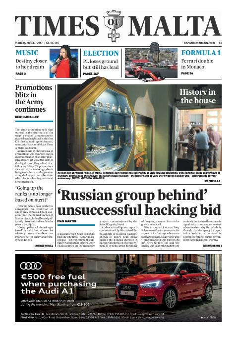 Times of Malta - Monday, May 29, 2017