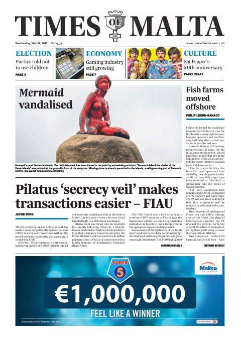 Times of Malta - Wednesday, May 31, 2017