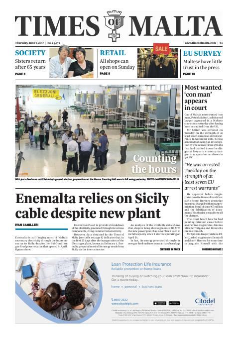 Times of Malta - Thursday, June 1, 2017