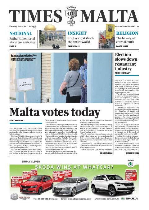 Times of Malta - Saturday, June 3, 2017