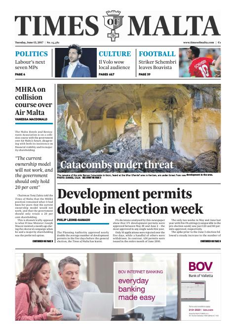 Times of Malta - Tuesday, June 13, 2017