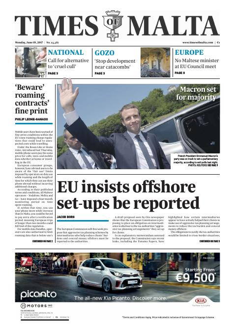 Times of Malta - Monday, June 19, 2017
