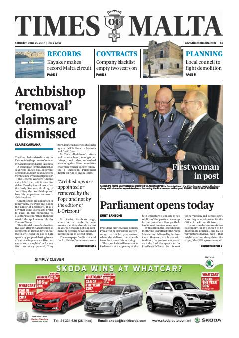 Times of Malta - Saturday, June 24, 2017