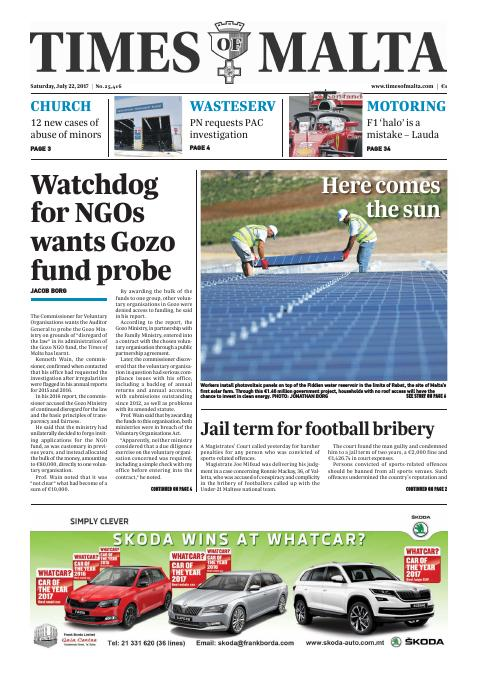 Times of Malta - Saturday, July 22, 2017