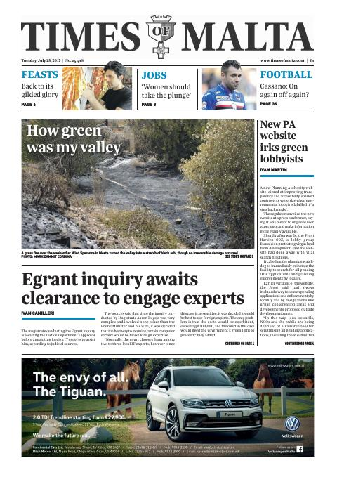 Times of Malta - Tuesday, July 25, 2017