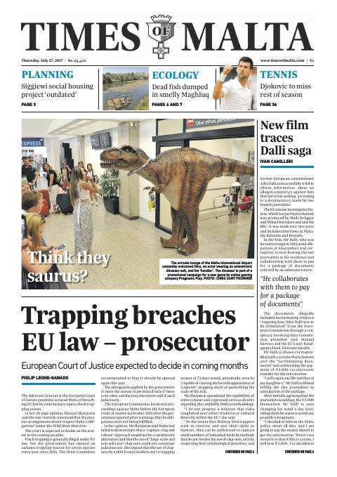Times of Malta - Thursday, July 27, 2017