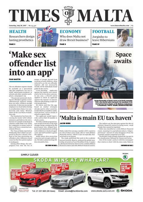 Times of Malta - Saturday, July 29, 2017