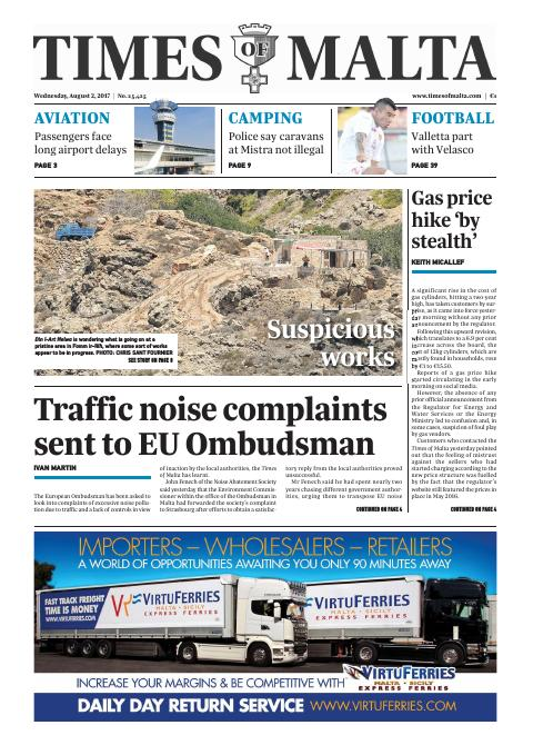 Times of Malta - Wednesday, August 2, 2017