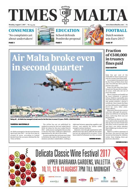 Times of Malta - Monday, August 7, 2017