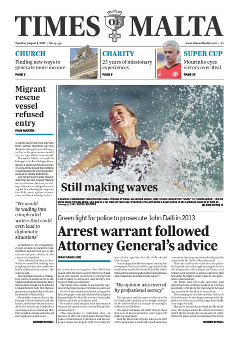 Times of Malta - Tuesday, August 8, 2017