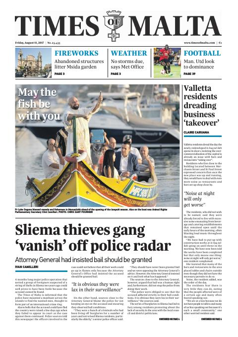 Times of Malta - Friday, August 11, 2017