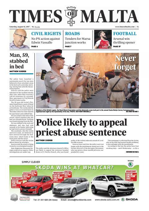 Times of Malta - Saturday, August 12, 2017
